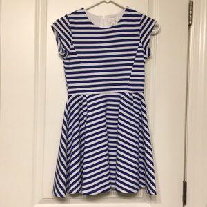Girls blue white striped dress
